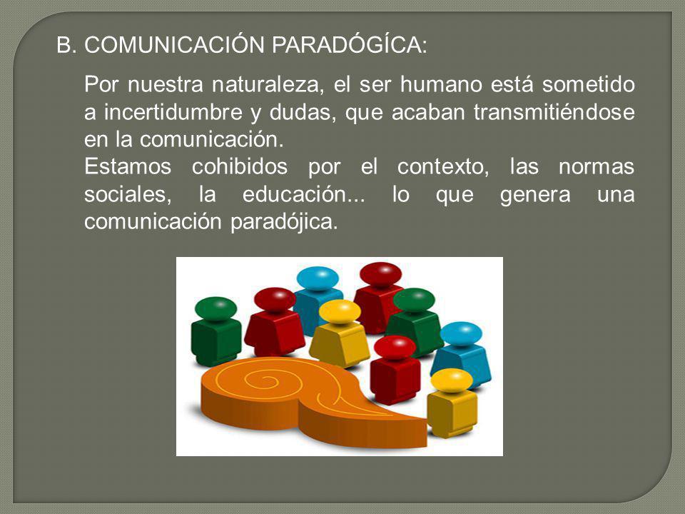 B. COMUNICACIÓN PARADÓGÍCA: