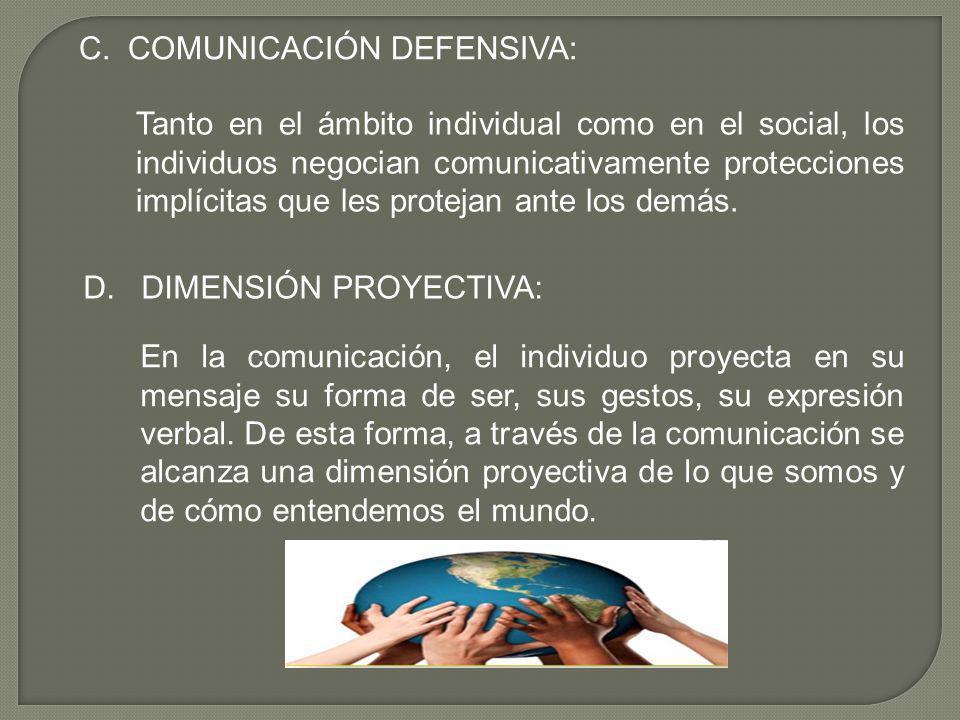 C. COMUNICACIÓN DEFENSIVA: