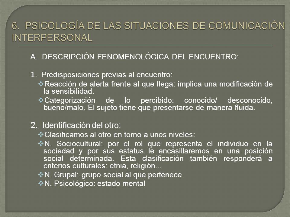 6. PSICOLOGÍA DE LAS SITUACIONES DE COMUNICACIÓN INTERPERSONAL