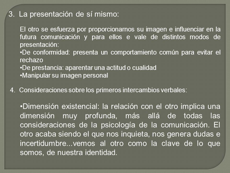 3. La presentación de sí mismo: