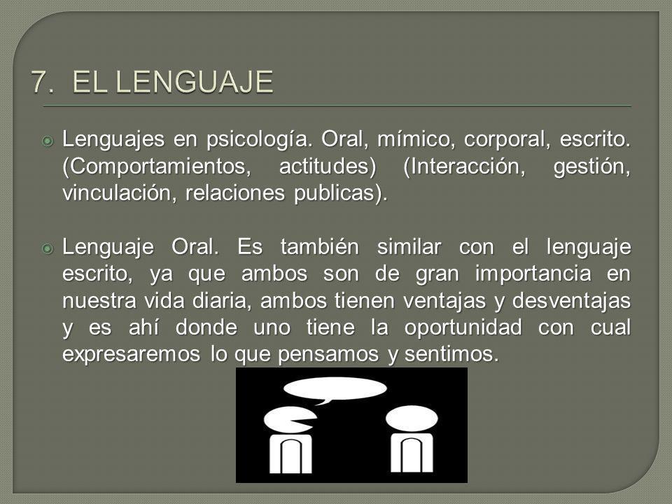7. EL LENGUAJE