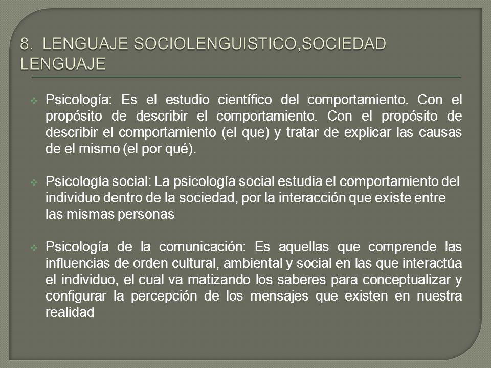 8. LENGUAJE SOCIOLENGUISTICO,SOCIEDAD LENGUAJE