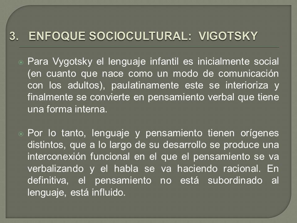 3. ENFOQUE SOCIOCULTURAL: VIGOTSKY
