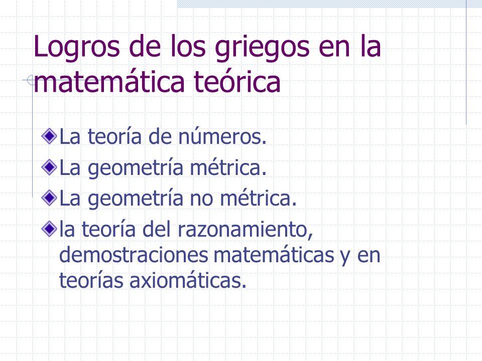 Logros de los griegos en la matemática teórica