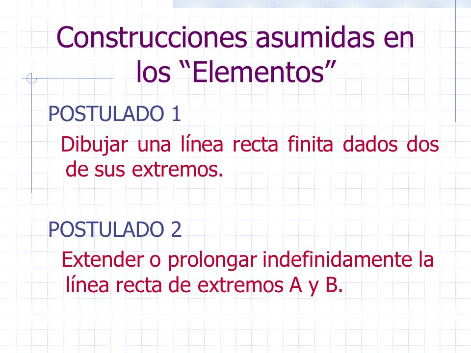 Construcciones asumidas en los Elementos