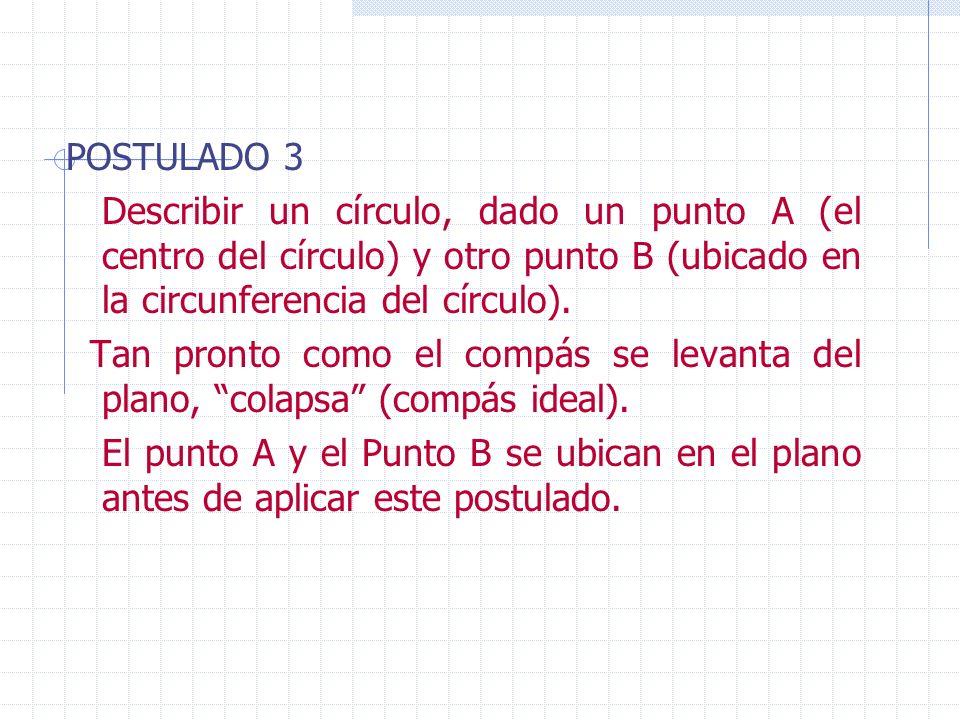 POSTULADO 3Describir un círculo, dado un punto A (el centro del círculo) y otro punto B (ubicado en la circunferencia del círculo).