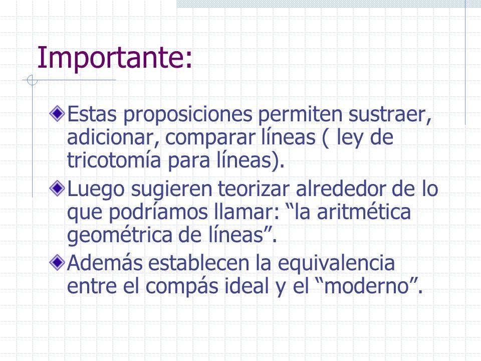 Importante:Estas proposiciones permiten sustraer, adicionar, comparar líneas ( ley de tricotomía para líneas).