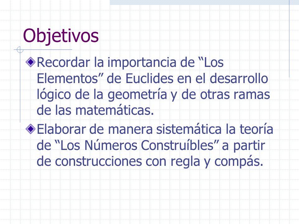 Objetivos Recordar la importancia de Los Elementos de Euclides en el desarrollo lógico de la geometría y de otras ramas de las matemáticas.