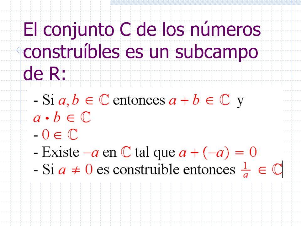 El conjunto C de los números construíbles es un subcampo de R: