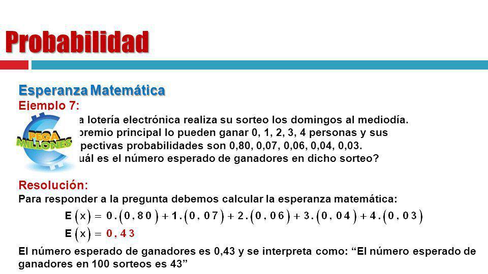 Probabilidad Esperanza Matemática Ejemplo 7: Resolución: