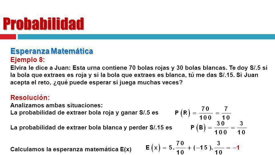 Probabilidad Esperanza Matemática Ejemplo 8: Resolución: