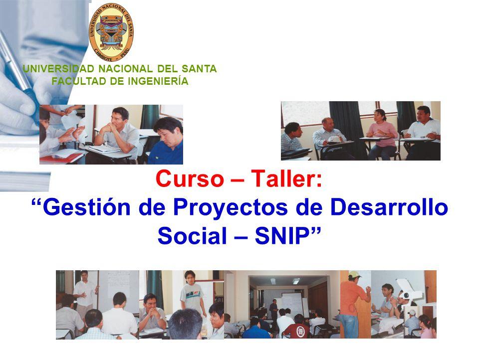 Curso – Taller: Gestión de Proyectos de Desarrollo Social – SNIP