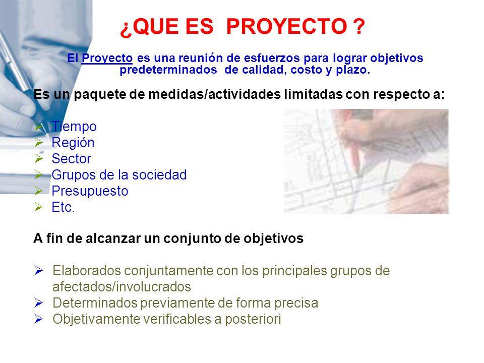 ¿QUE ES PROYECTO El Proyecto es una reunión de esfuerzos para lograr objetivos predeterminados de calidad, costo y plazo.
