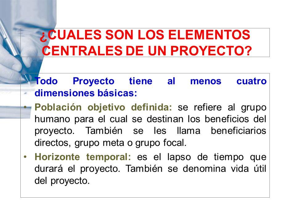 ¿CUALES SON LOS ELEMENTOS CENTRALES DE UN PROYECTO