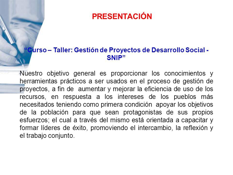 Curso – Taller: Gestión de Proyectos de Desarrollo Social - SNIP
