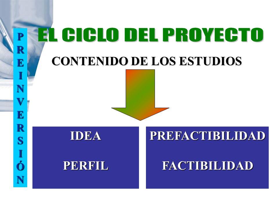 IDEA PERFIL PREFACTIBILIDAD FACTIBILIDAD