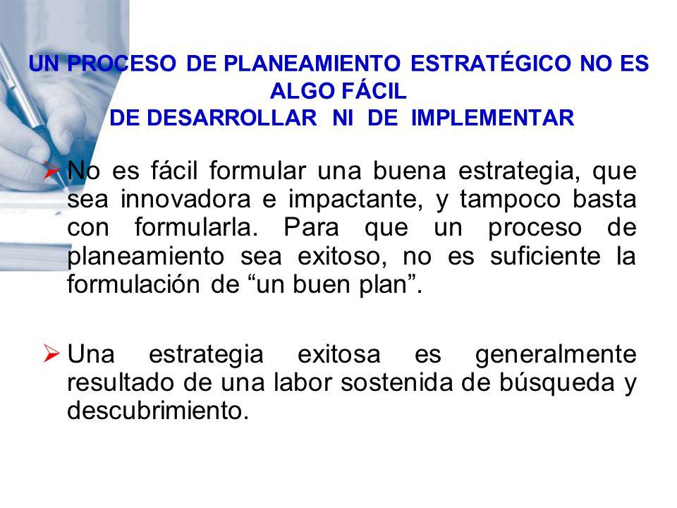 UN PROCESO DE PLANEAMIENTO ESTRATÉGICO NO ES ALGO FÁCIL DE DESARROLLAR NI DE IMPLEMENTAR