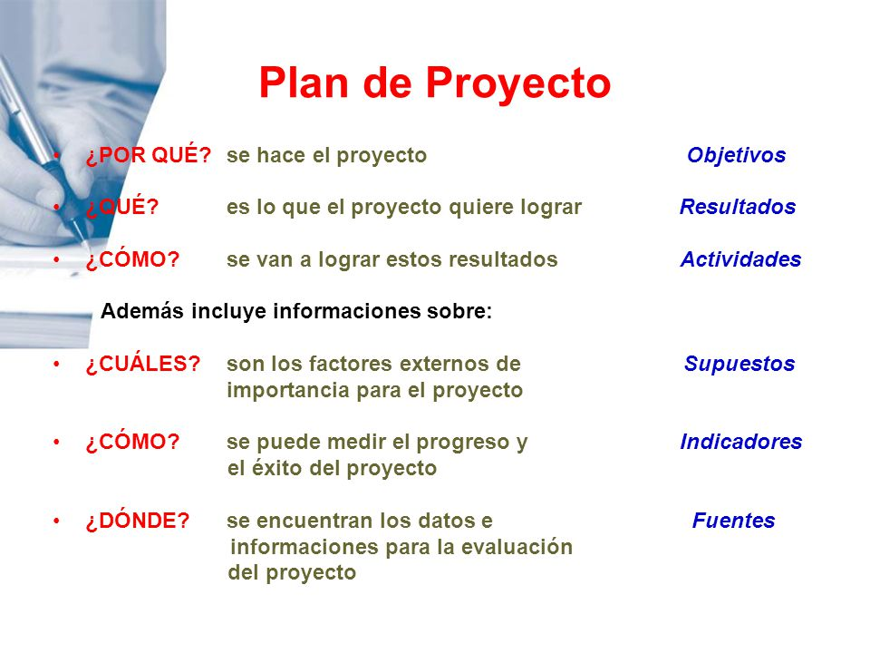 Plan de Proyecto ¿POR QUÉ se hace el proyecto Objetivos