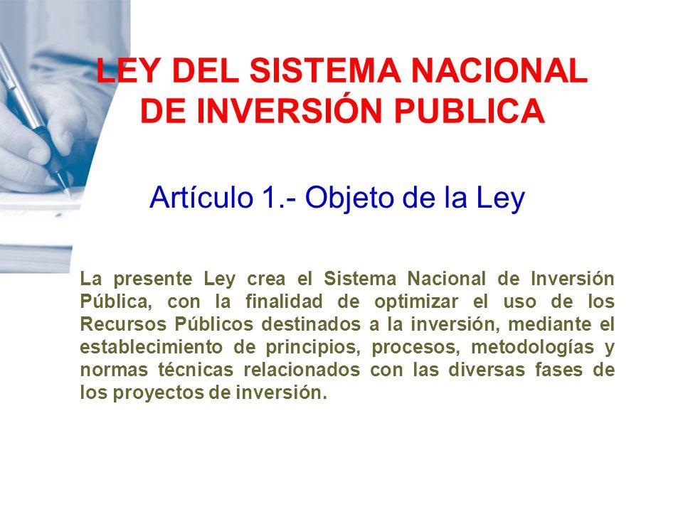 LEY DEL SISTEMA NACIONAL DE INVERSIÓN PUBLICA