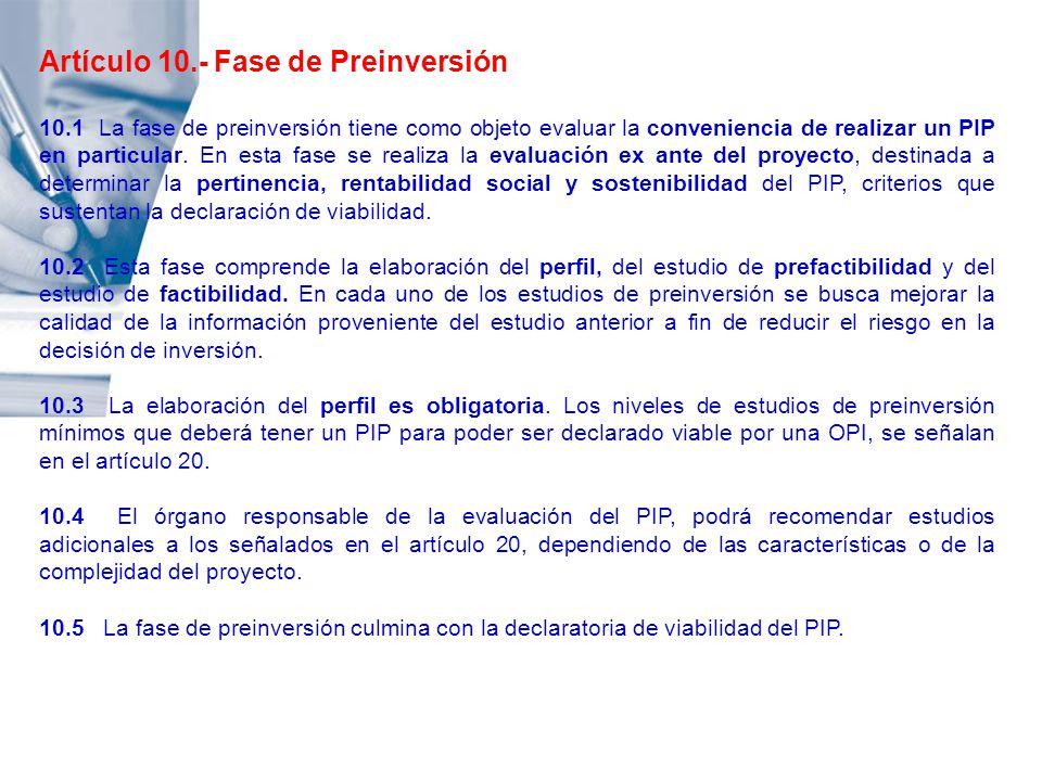 Artículo 10.- Fase de Preinversión