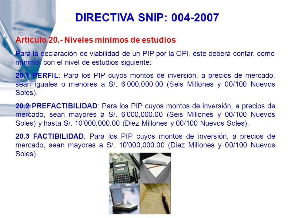 DIRECTIVA SNIP: 004-2007 Artículo 20.- Niveles mínimos de estudios