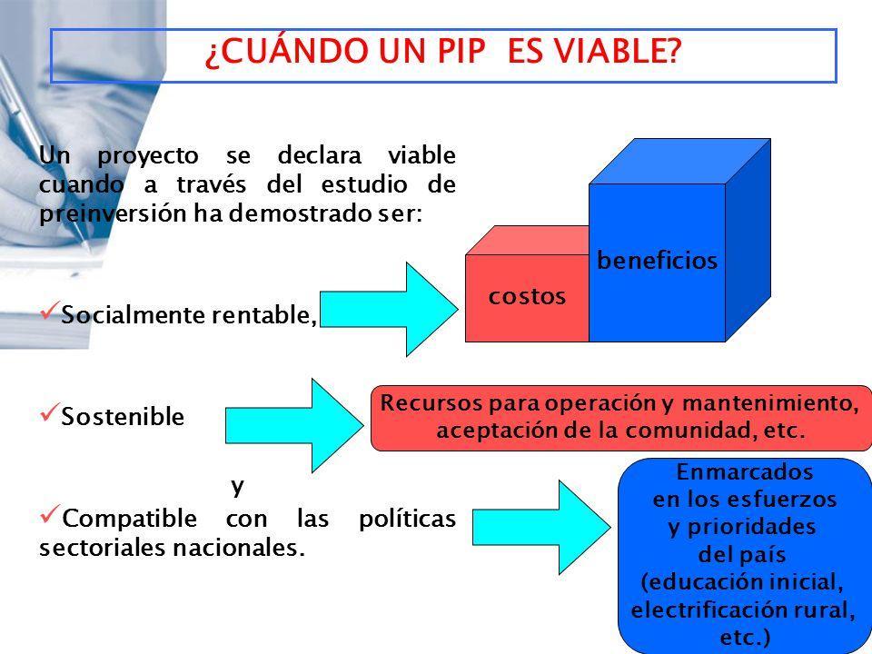 ¿CUÁNDO UN PIP ES VIABLE