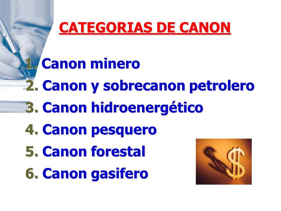 2. Canon y sobrecanon petrolero 3. Canon hidroenergético