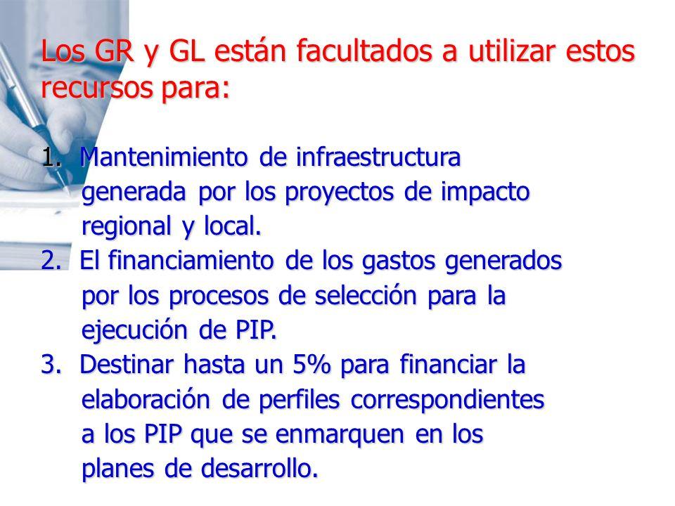 Los GR y GL están facultados a utilizar estos recursos para: