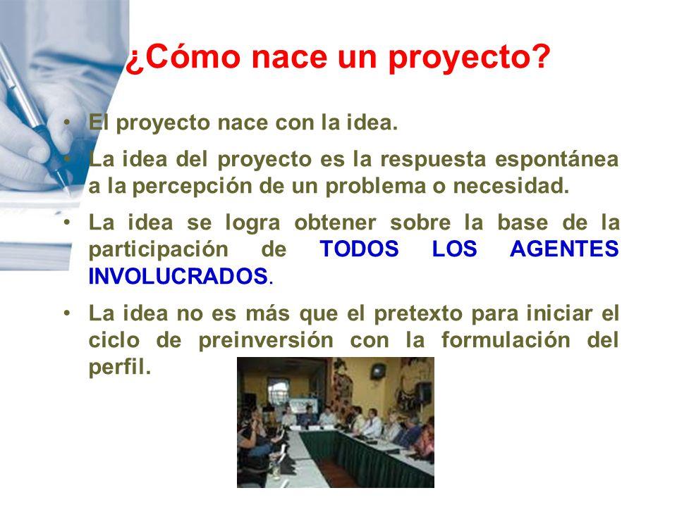 ¿Cómo nace un proyecto El proyecto nace con la idea.