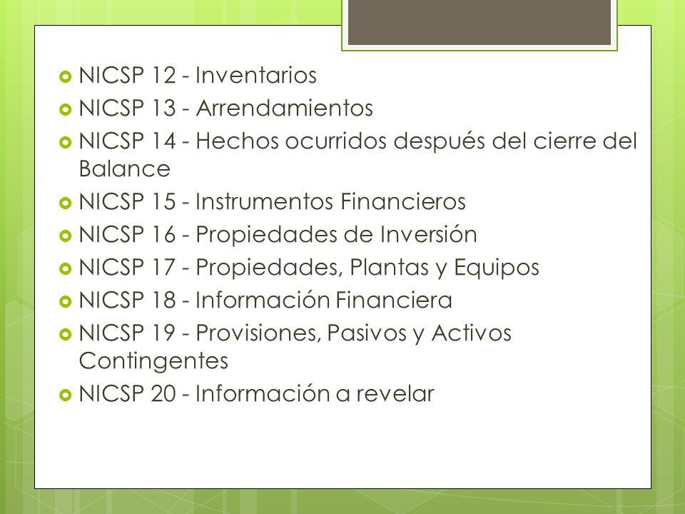 NICSP 12 - Inventarios NICSP 13 - Arrendamientos. NICSP 14 - Hechos ocurridos después del cierre del Balance.