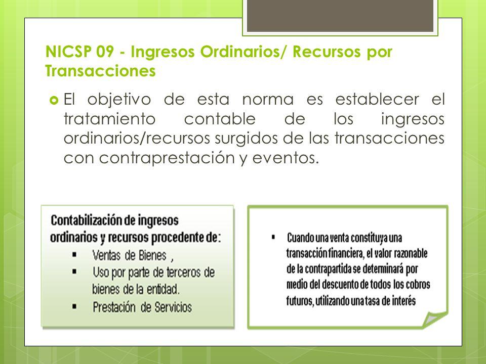 NICSP 09 - Ingresos Ordinarios/ Recursos por Transacciones