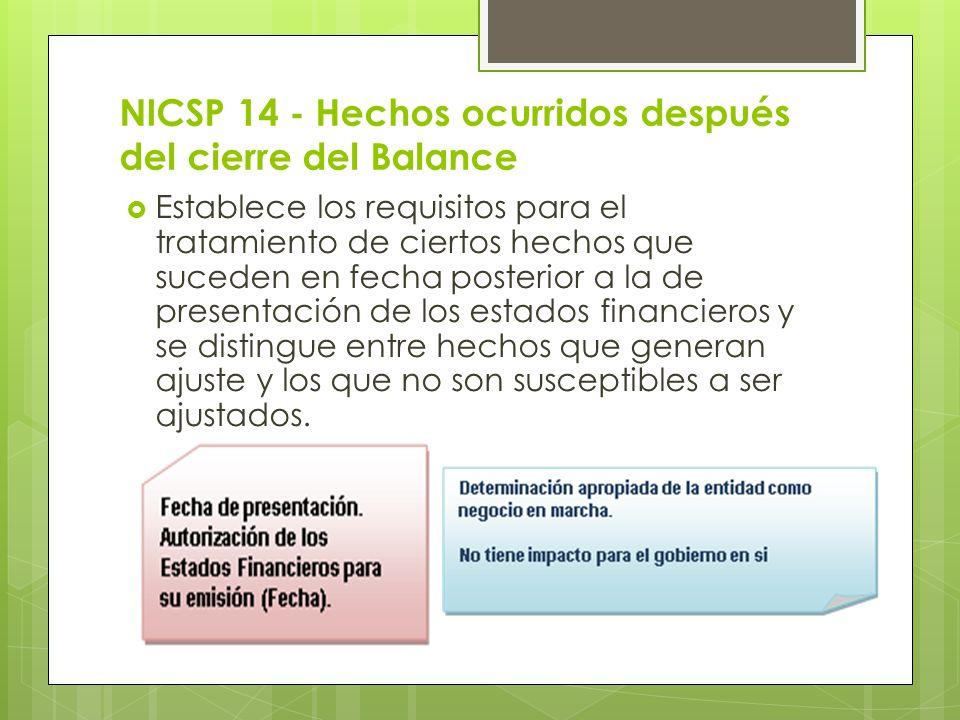 NICSP 14 - Hechos ocurridos después del cierre del Balance