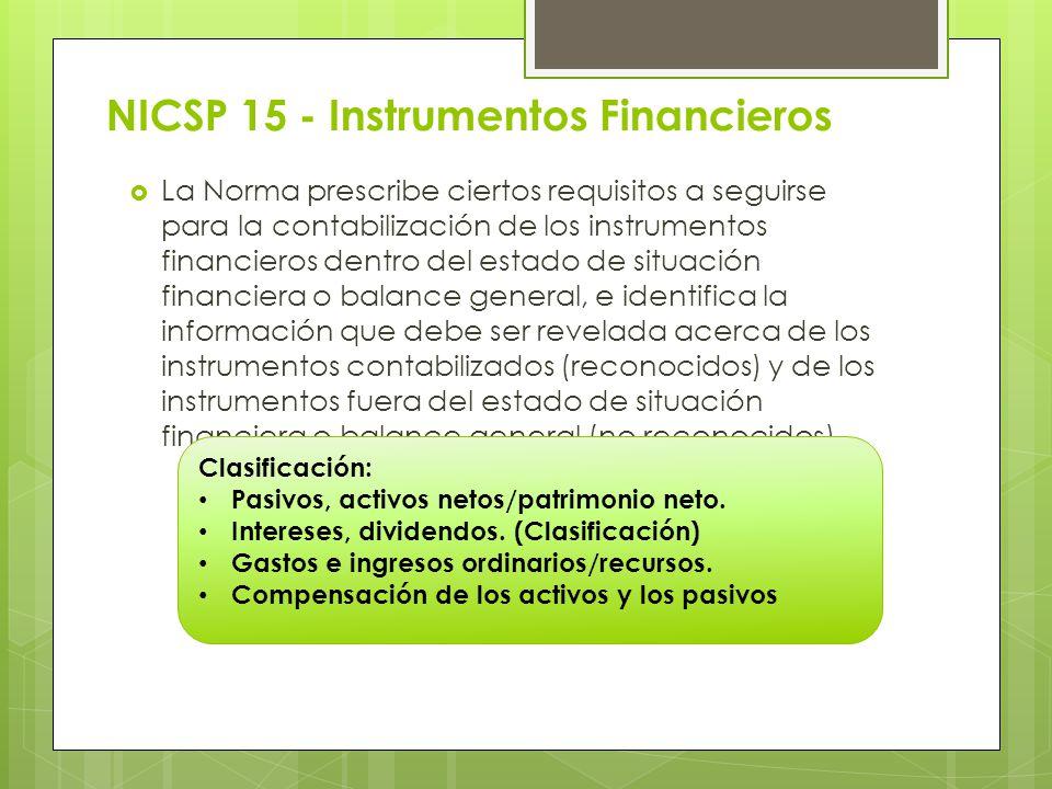 NICSP 15 - Instrumentos Financieros