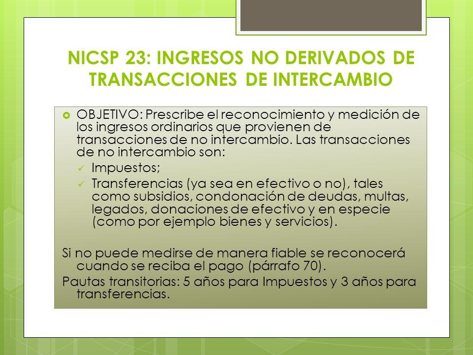 NICSP 23: INGRESOS NO DERIVADOS DE TRANSACCIONES DE INTERCAMBIO