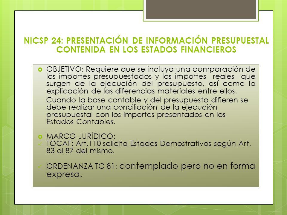 NICSP 24: PRESENTACIÓN DE INFORMACIÓN PRESUPUESTAL CONTENIDA EN LOS ESTADOS FINANCIEROS