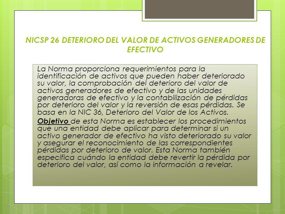 NICSP 26 DETERIORO DEL VALOR DE ACTIVOS GENERADORES DE EFECTIVO