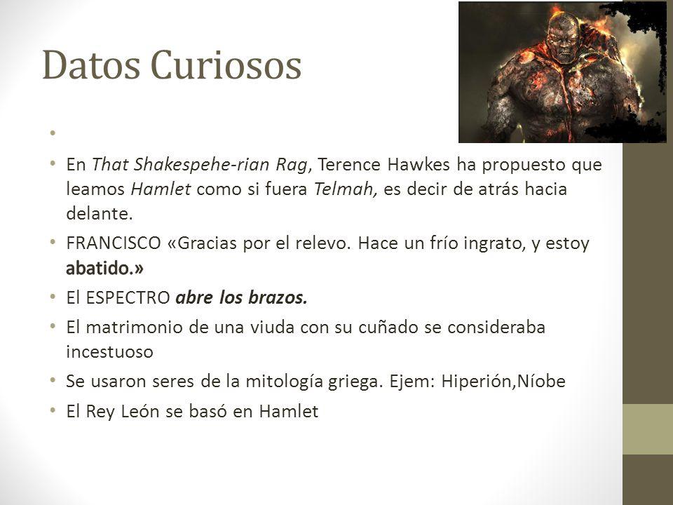 Datos Curiosos En That Shakespehe-rian Rag, Terence Hawkes ha propuesto que leamos Hamlet como si fuera Telmah, es decir de atrás hacia delante.