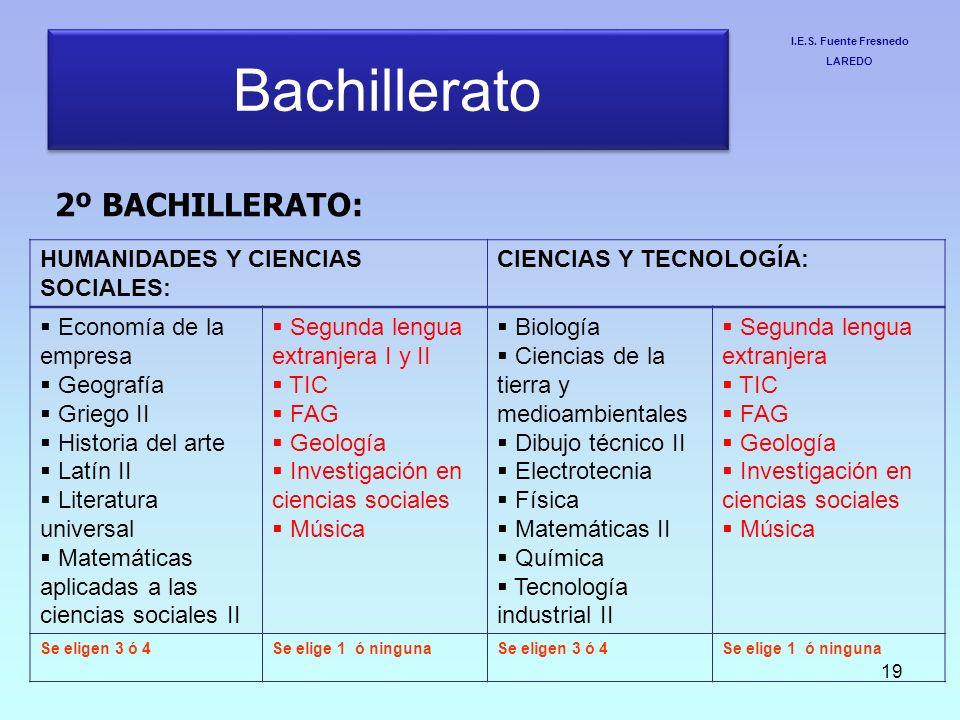 Bachillerato 2º BACHILLERATO: HUMANIDADES Y CIENCIAS SOCIALES: