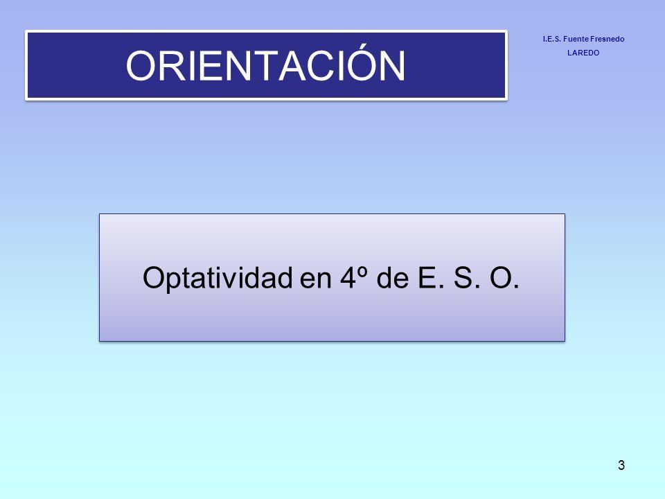 ORIENTACIÓN Optatividad en 4º de E. S. O. I.E.S. Fuente Fresnedo