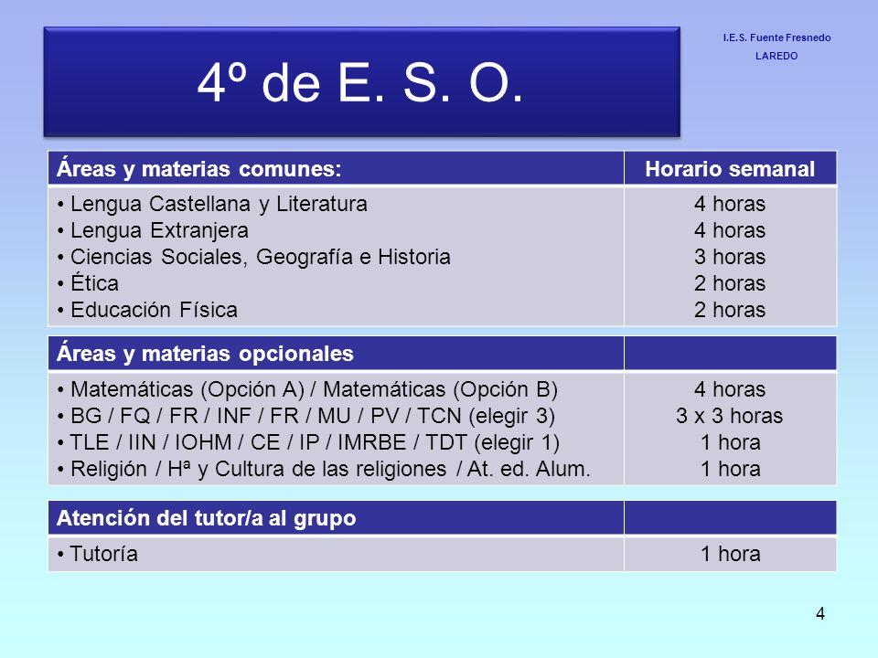 4º de E. S. O. Áreas y materias comunes: Horario semanal