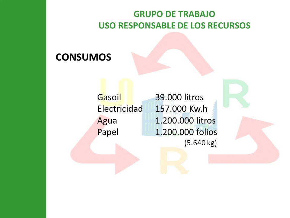 CONSUMOS Gasoil 39.000 litros Electricidad 157.000 Kw.h