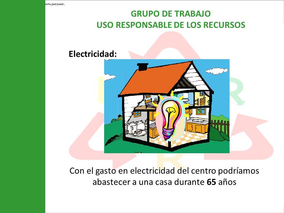 Electricidad: Con el gasto en electricidad del centro podríamos abastecer a una casa durante 65 años.