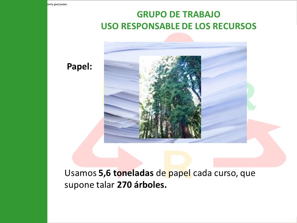Papel: Usamos 5,6 toneladas de papel cada curso, que supone talar 270 árboles.