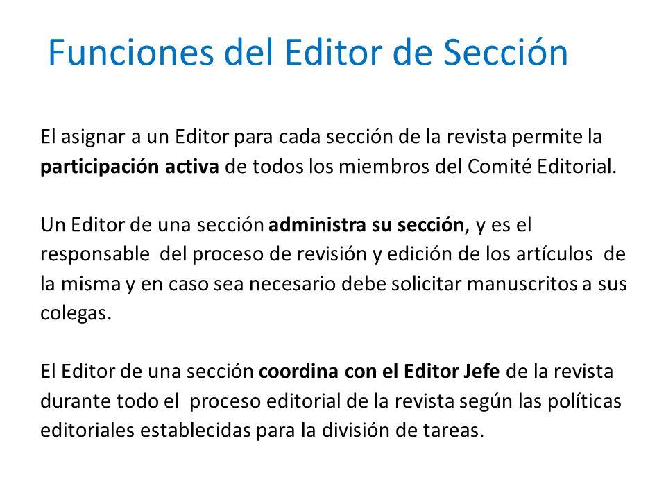 Funciones del Editor de Sección