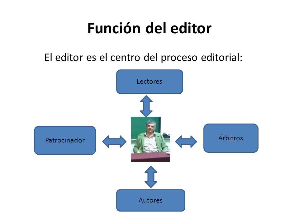Función del editor El editor es el centro del proceso editorial: