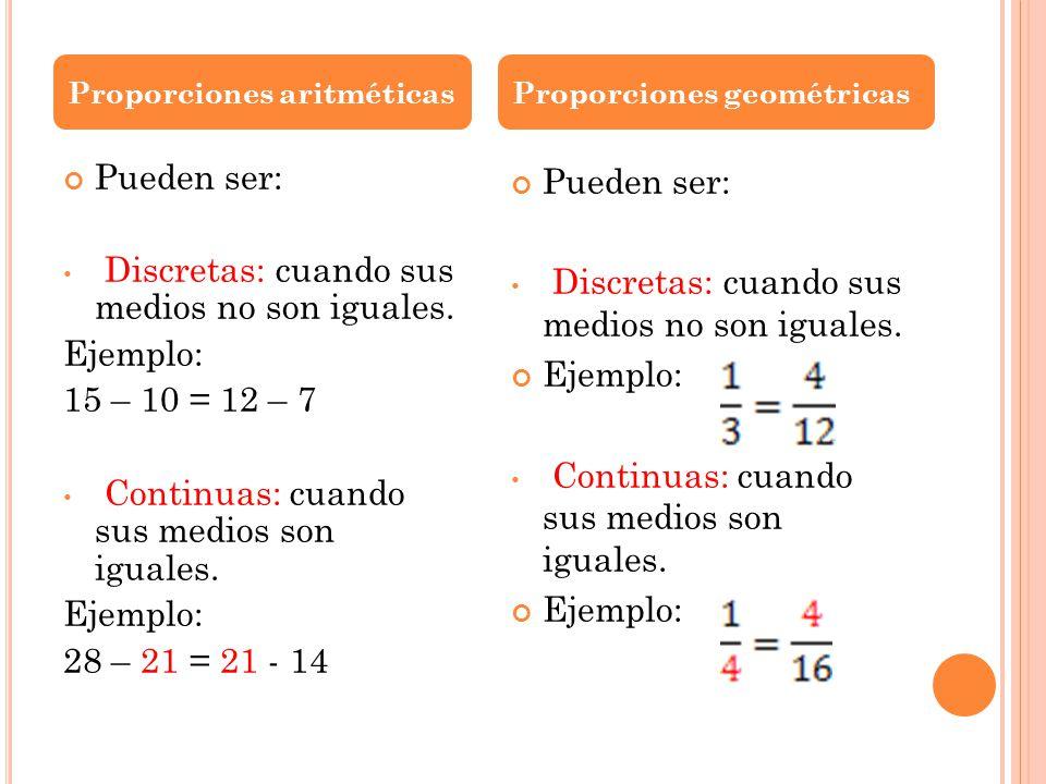 Discretas: cuando sus medios no son iguales. Ejemplo: 15 – 10 = 12 – 7