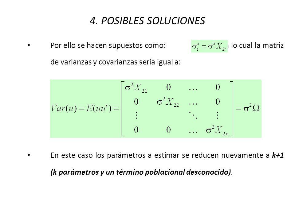 4. POSIBLES SOLUCIONES Por ello se hacen supuestos como: , con lo cual la matriz de varianzas y covarianzas sería igual a: