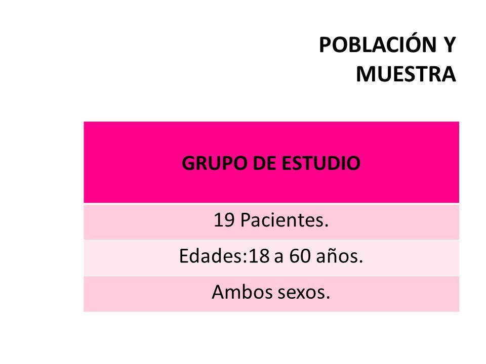 POBLACIÓN Y MUESTRA GRUPO DE ESTUDIO 19 Pacientes.