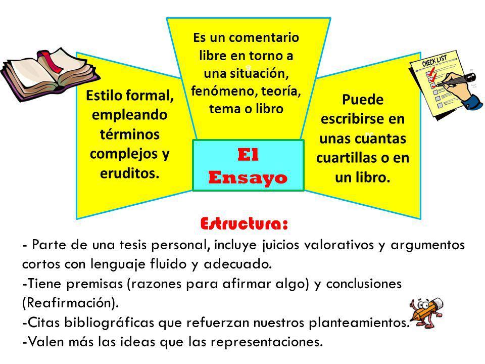 g Es un comentario libre en torno a una situación, fenómeno, teoría, tema o libro. g. g. Estilo formal, empleando términos complejos y eruditos.