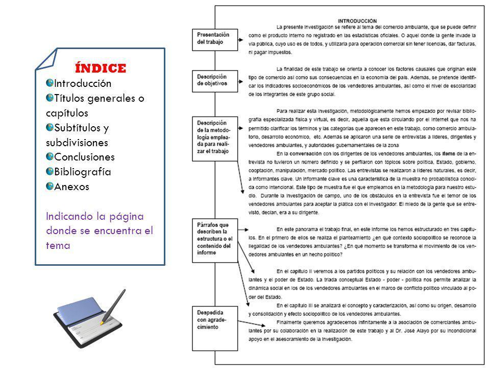 ÍNDICE Introducción. Títulos generales o capítulos. Subtítulos y subdivisiones. Conclusiones. Bibliografía.